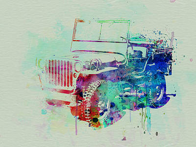 Car Drawing - Jeep Willis by Naxart Studio