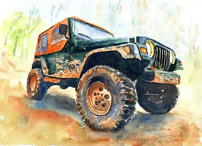 Cars Wall Art - Painting - Jeep Wrangler Watercolor by CarlinArt Watercolor