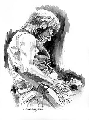 Stratocaster Drawing - Jeff Beck In Concert by David Lloyd Glover