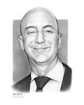 Drawings Royalty Free Images - Jeff Bezos Royalty-Free Image by Greg Joens