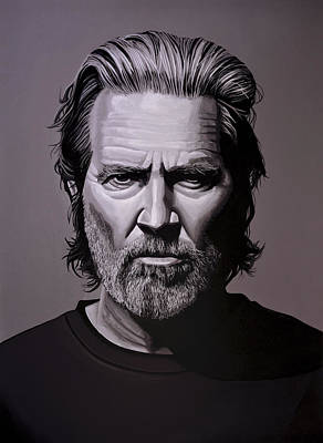 Jagged Painting - Jeff Bridges Painting by Paul Meijering