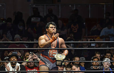 Photograph - Jeff Cobb Celebrating Winning The A P W Universal Heavyweight Championship by Jim Fitzpatrick