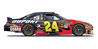 American Cars Drawing - Jeff Gordon Nascar Image by Alain Jamar