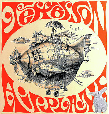 Grace Slick Mixed Media - Jefferson Airplane Concert Poster Print, White Rabbit by Thomas Pollart