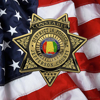 Jefferson County Sheriff's Department - Constable Badge Over American Flag Original by Serge Averbukh