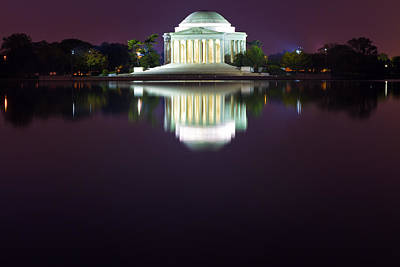 Photograph - Jefferson Memorial Across The Pond At Night 4 by Val Black Russian Tourchin
