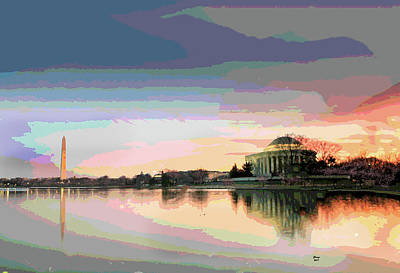 Washington Monument Mixed Media - Jefferson Memorial At Sunset by Charles Shoup