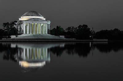 Photograph - Jefferson Memorial Black And White by Stewart Helberg