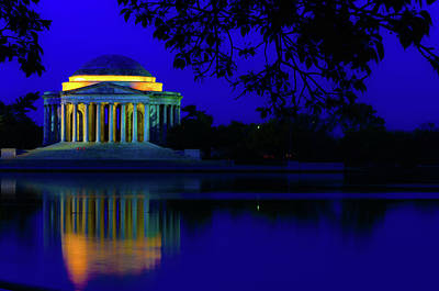 Photograph - Jefferson Memorial Blue Reflection by Stewart Helberg