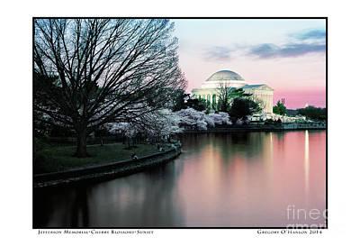 Gregory Ohanlon Photograph - Jefferson Memorial- Cherry Blossoms- Sunset by Gregory Ohanlon