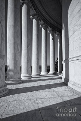 Jefferson Memorial Columns And Shadows Art Print by Clarence Holmes