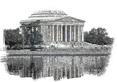 Jefferson Memorial Drawing - Jefferson Memorial by Michael Perlin