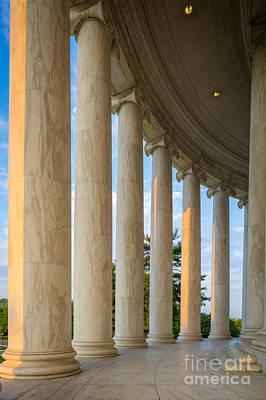 Airplane Paintings - Jefferson Memorial Pillars by Inge Johnsson