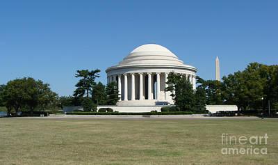 Washington Monument Painting - Jefferson Memorial Washington D C by Rod Jellison
