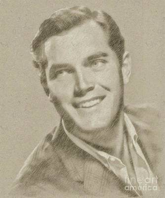 John Wayne Drawing - Jeffrey Hunter Vintage Hollywood Actor by Frank Falcon