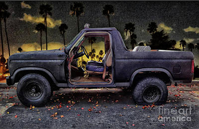 Digital Art - Jeff's Jeep And The Fallen Leaves by Bob Winberry
