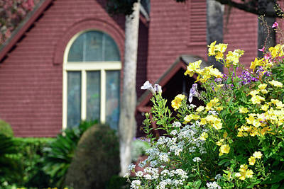 Print featuring the photograph Jekyll Island Chapel And Flowers by Bruce Gourley