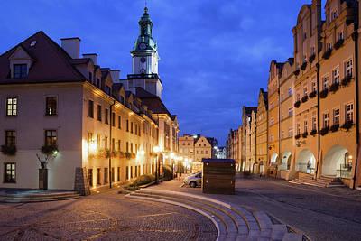 Jelenia Gora Old Town By Night In Poland Art Print by Artur Bogacki