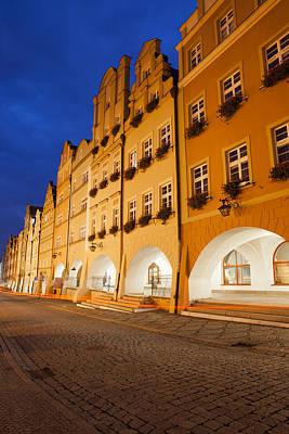 Jelenia Gora Old Town Houses By Night In Poland Art Print by Artur Bogacki