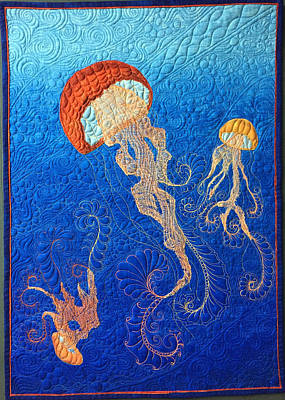 Tapestry - Textile - Jellies Of The Sea by Jo Baner