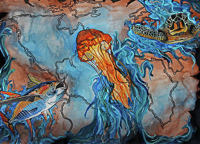 Seaturtle Painting - Jelly Lagoon by Brittany Sibert