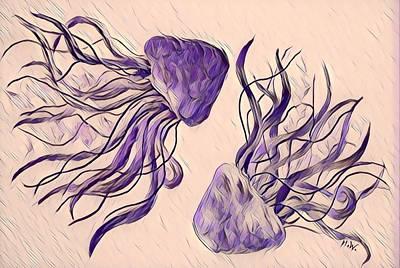 Digital Art - Jellyfish Digital 5 by Megan Walsh