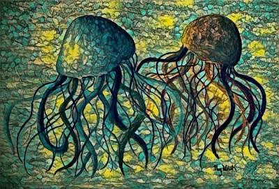 Digital Art - Jellyfish Digital 6 by Megan Walsh