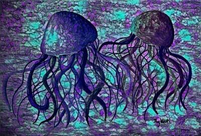 Digital Art - Jellyfish Digital 8 by Megan Walsh