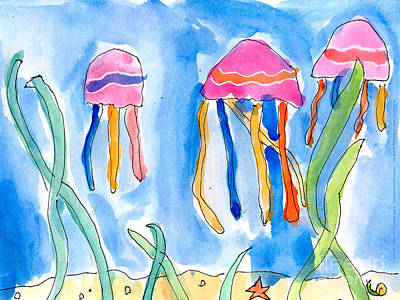 Painting - Jellyfish by Emily Graham Age Six