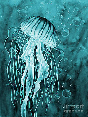 Japanese Wave Painting - Jellyfish On Blue by Hailey E Herrera