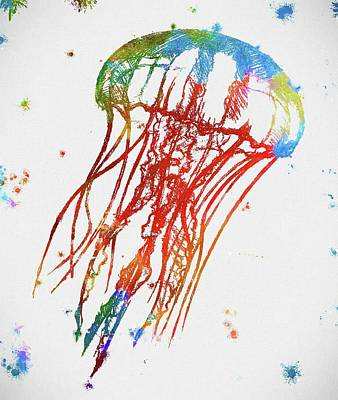 Jelly Fish Painting - Jellyfish Paint Splatter by Dan Sproul