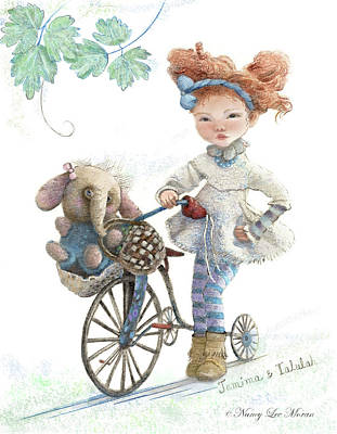 Jemima Starling And Her Elephant Friend Art Print by Nancy Lee Moran
