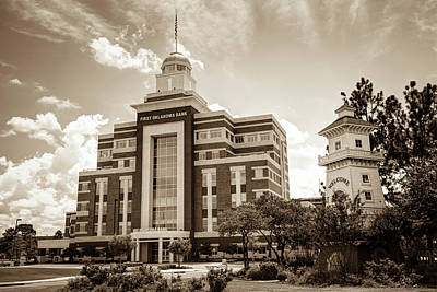 Photograph - Jenks Oklahoma Cityscape With Lighthouse Sepia by Gregory Ballos