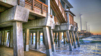 Jennette's Pier Art Print by Scott and Dixie Wiley