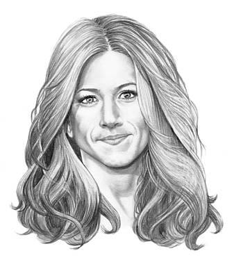 Famous People Drawing - Jennifer Aniston by Murphy Elliott