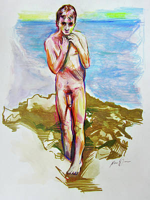 Art Print featuring the painting Jeremy At The Beach by Rene Capone