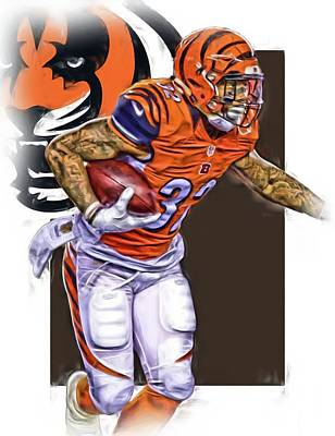 Jeremy Hill Cincinnati Bengals Oil Art Art Print