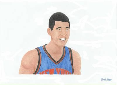Knicks Drawing - Jeremy Lin by Toni Jaso