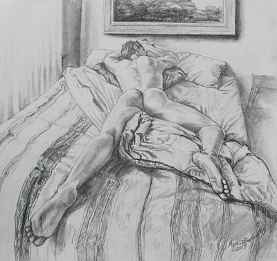 Drawing - Jeremy On The Bed by Marc DeBauch