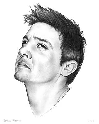 American Actor Drawing - Jeremy Renner by Greg Joens