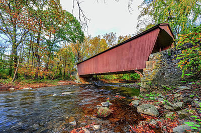 Animals Royalty-Free and Rights-Managed Images - Jericho Covered Bridge in Maryland during Autumn by Patrick Wolf
