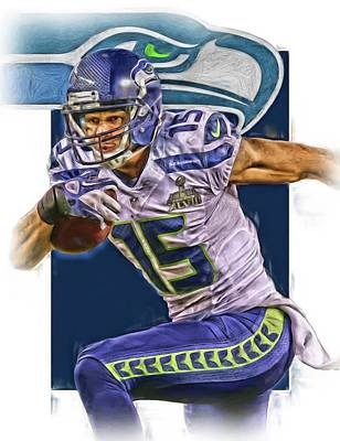 Mixed Media - Jermaine Kearse Seattle Seahawks Oil Art by Joe Hamilton