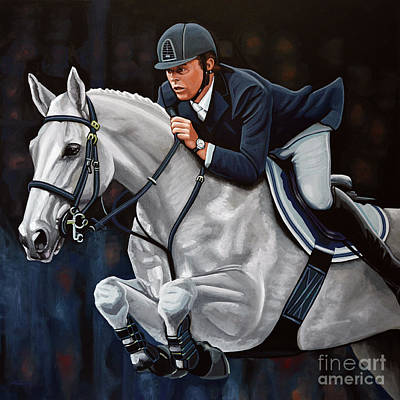 Eventing Painting - Jeroen Dubbeldam On The Sjiem by Paul Meijering