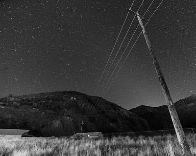 Photograph - Jerome Arizona Ghost Town Starry Skies Mining Town Black And White by Toby McGuire