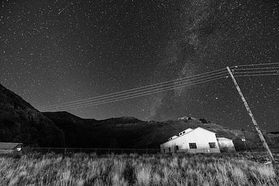 Photograph - Jerome Arizona Ghost Town Starry Skies Mining Town Milky Way Black And White by Toby McGuire