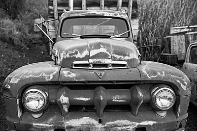 Photograph - Jerome, Az Junk Yard Ford V8 Red Old Rusty Truck Black And White by Toby McGuire