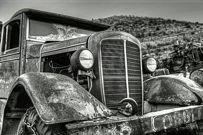 Photograph - Jerome Az Old Truck Junkyard Arizona Rusted Trucks Mountain by Toby McGuire