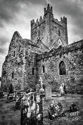 Photograph - Jerpoint Abbey And Old Gravestones Bw by RicardMN Photography