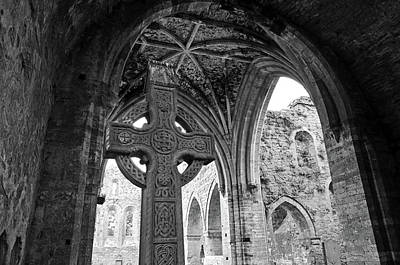 Photograph - Jerpoint Abbey Celtic High Cross And Vaulted Gothic Ceiling County Kilkenny Ireland Black And White by Shawn O'Brien