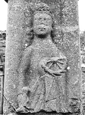 Rustic Photograph - Jerpoint Abbey Female Saint Stone Carving On Cloister Column County Kilkenny Ireland Black And White by Shawn O'Brien
